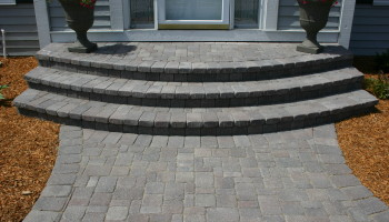 Stone paver walkway and staircase